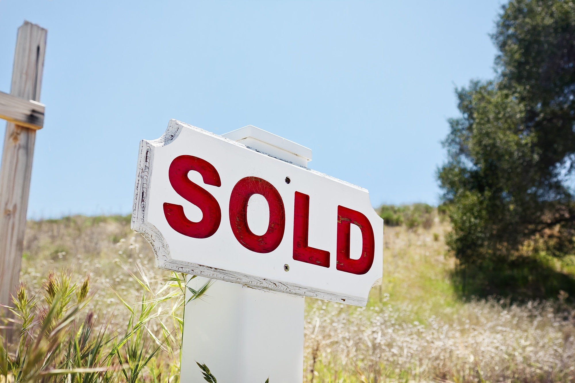 Sold sign on land